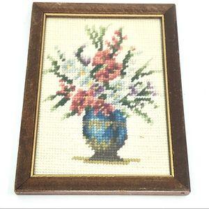 Vintage Framed Needlepoint, Wool work Tapestry